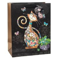 Happy Cat Gift Bags, Gold Foil Art 17 x 22 x 12cm MEDIUM Pack of 3